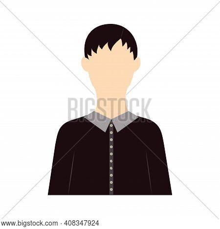 European Woman Icon Vector Illustration In Flat Design Brunette Girl With Short Hair In Black Shirt
