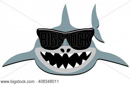 Shark with Big Teeth and Sunglasses Isolated with Clipping Path