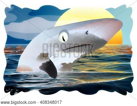 Little Shark Swimming in Ocean at Sunrise with Clipping Path
