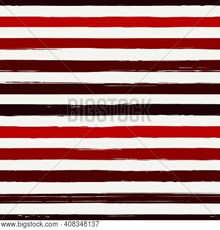 Brush Strokes Seamless Pattern. Freehand Horizontal Stripes Print. Repeated Rough Edge Ink Lines Bac