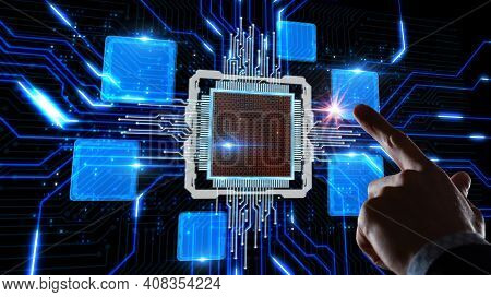 Business, Technology, Internet And Virtual Reality Concept - Button On Virtual Screen.