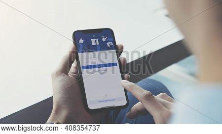 Chiang Mai, Thailand, Jan 21 2021: Facebook Social Media App Logo On Log-in, Sign-up Registration Pa