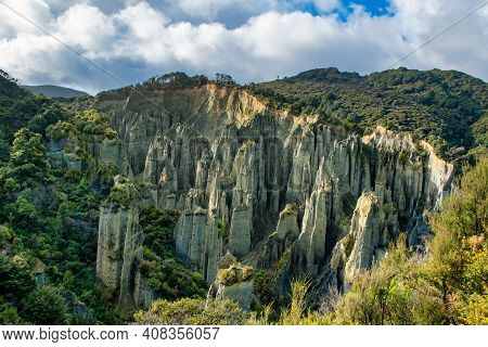 The Putangirua Pinnacles Are A Geological Formation And One Of New Zealand's Best Examples Of Badlan