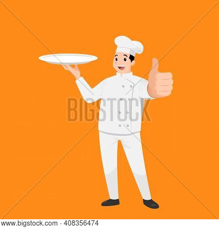 Happy Chef Cartoon Portrait Of Young Big Guy Cook Wearing Hat And Chef Uniform Hold Empty Dish And D