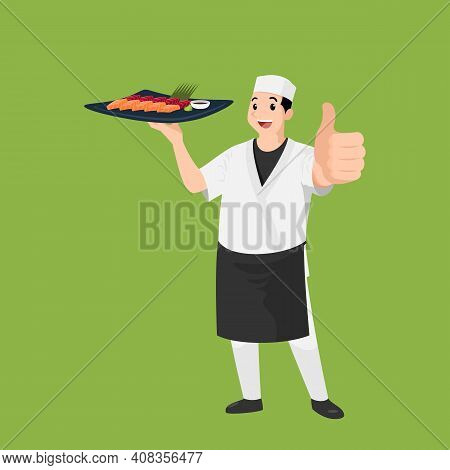 Happy Japanese Chef Cartoon Portrait Of Young Big Guy Cook Wearing Hat And Chef Uniform Hold Dish Of