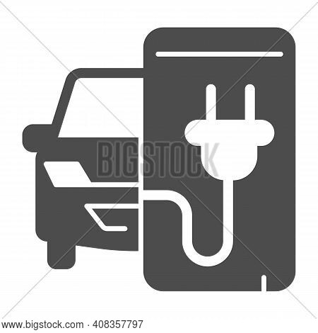 Electric Car And Smartphone With Plug Solid Icon, Electric Car Concept, Monitoring Electric Car Char