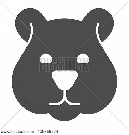 Hamster Head Solid Icon, Domestic Animals Concept, Rodent Silhouette Sign On White Background, Hamst