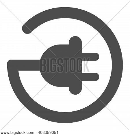 Cord With Plug In Circle Shape Solid Icon, Electric Car Concept, Electric Plug Sign On White Backgro