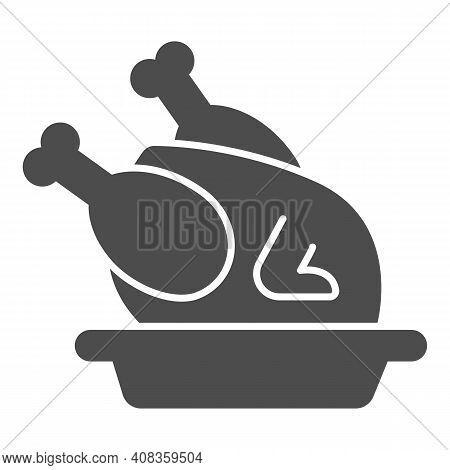Roasted Turkey In Plate Solid Icon, Thanksgiving Day Concept, Roasted Chicken Sign On White Backgrou