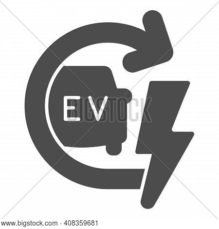 Recharging Electric Car Solid Icon, Electric Car Concept, Ev With Arrow And Lightning Sign On White
