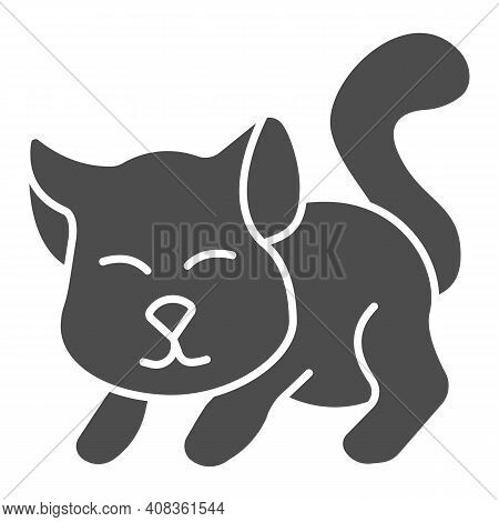 Cute Kitten Solid Icon, Domestic Animals Concept, Cat Silhouette Sign On White Background, Playing K