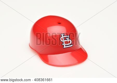 IRVINE, CALIFORNIA - FEBRUARY 28, 2019:  Closeup of a mini collectable batters helmet for the St. Louis Cardinals of Major League Baseball.