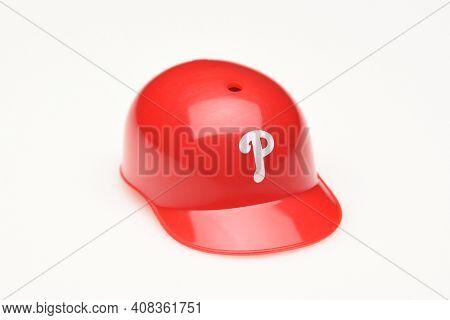 IRVINE, CALIFORNIA - FEBRUARY 28, 2019:  Closeup of a mini collectable batters helmet for the Philadelphia Phillies of Major League Baseball.