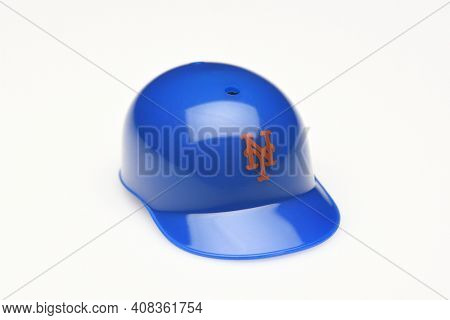 IRVINE, CALIFORNIA - FEBRUARY 28, 2019:  Closeup of a mini collectable batters helmet for the New York Mets of Major League Baseball.
