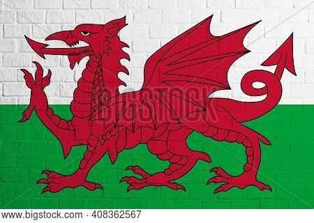 Flag Of Wales. Brick Wall Texture Of The Flag Of Wales.