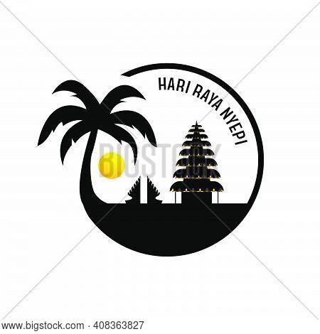 Silhouette Selamat Hari Raya Nyepi Design Vector