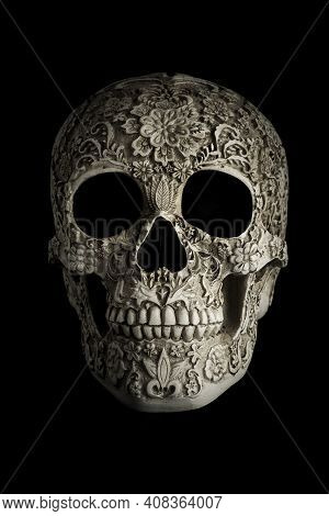 Day Of The Dead Scull With Intricate Carving And Designs