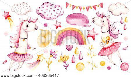 Cute Unicorn Baby Girl. Watercolor Vector Nursery Cartoon Magic Animals, Pink Clouds, Rainbow. Adora