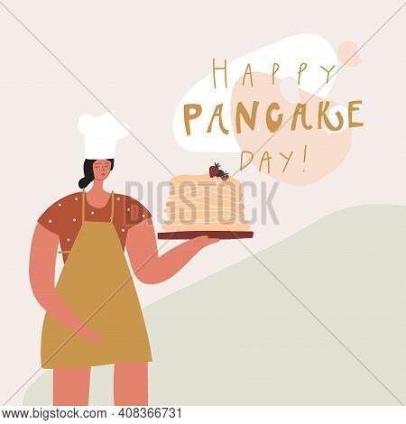 Woman With Pancakes Stack. Handwritten Phrase : Happy Pancake Day. Vector Template