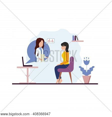 Online Medical Consultations. A Woman Doctor Treats At Home Remotely Via The Internet. Stylized Vect