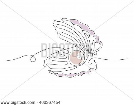 Open Pearl Shell. Continuous One Line Drawing Of An Oyster Mollusk. Modern Minimalist Badge Icon Or