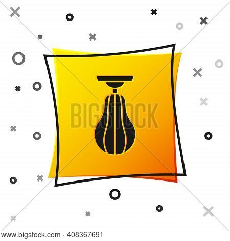 Black Punching Bag Icon Isolated On White Background. Yellow Square Button. Vector