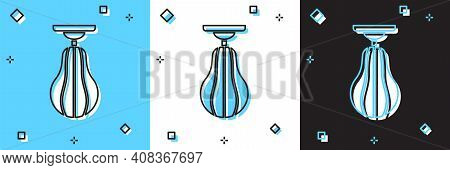 Set Punching Bag Icon Isolated On Blue And White, Black Background. Vector