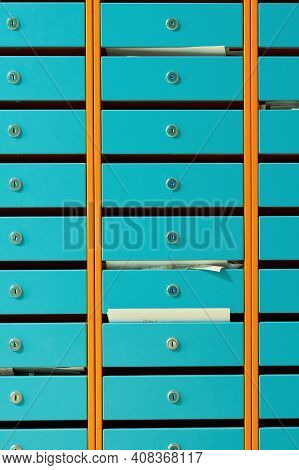 Metal Mailboxes In An Apartment Building, Close Up