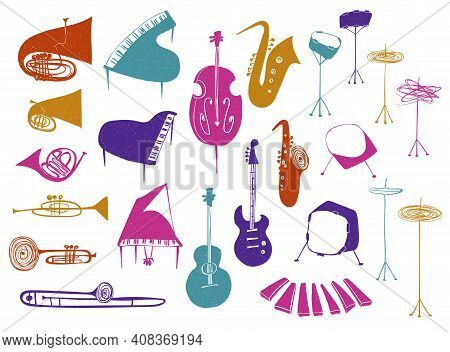 Illustrations Of Isolated Flat Wind, Strings, Percussion Music Instruments. Colorful Musical Collect