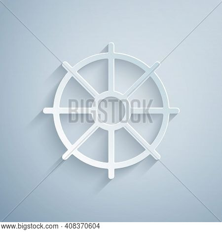 Paper Cut Dharma Wheel Icon Isolated On Grey Background. Buddhism Religion Sign. Dharmachakra Symbol