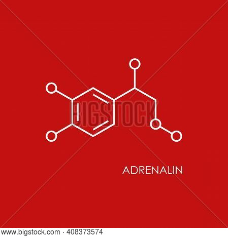 Adrenalin Molecula Structure. White Line Icon Isolated On Red Background. Hormone Epinephrine, Neuro