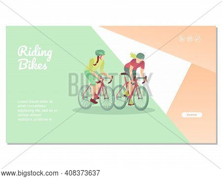 Riding Bikes Landing Page Template. Healthy Active Lifestyle, Eco Friendly Transport Concept. Girls