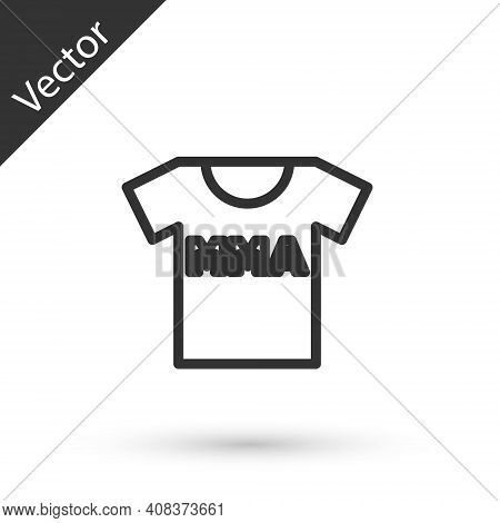 Grey Line T-shirt With Fight Club Mma Icon Isolated On White Background. Mixed Martial Arts. Vector