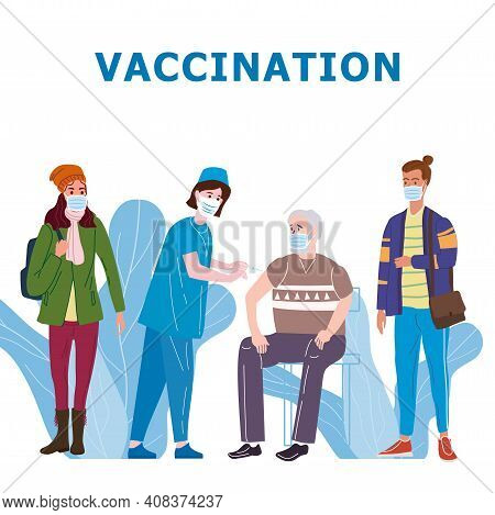 Vaccination People For Immunity Health. Doctor And Nurse Makes Injection Of Of Flu Vaccine In Hospit