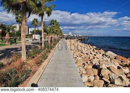 Limassol, Cyprus - 03 Jan 2016: The Waterfront In Limassol, Cyprus