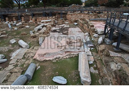 Paphos, Cyprus - 05 Jan 2016: Ruins Of The Ancient Church In Paphos, Cyprus
