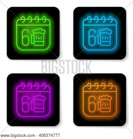 Glowing Neon Line Saint Patricks Day With Calendar Icon Isolated On White Background. Four Leaf Clov
