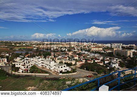 Paralimni, Cyprus - 08 Jan 2016: The Panoramic View On Protaras City, Cyprus