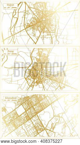 Jhang, Islamabad and Gujrat Pakistan City Map Set in Retro Style in Golden Color. Outline Map.