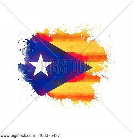 Catalonia Flag, Watercolor. Splashes And Stains Isolated On White Background. Square Cropping.