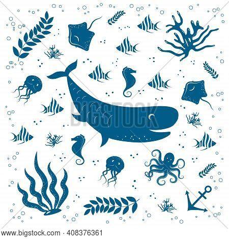 Sea Life Set. Hand Drawn Whale, Fish, Sea Horse, Octopus, Jellyfish, Stingray And Algae. Vector Illu