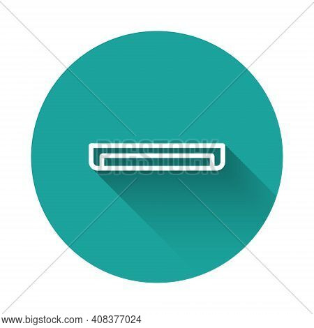 White Line Long Luminescence Fluorescent Energy Saving Lamp Icon Isolated With Long Shadow Backgroun