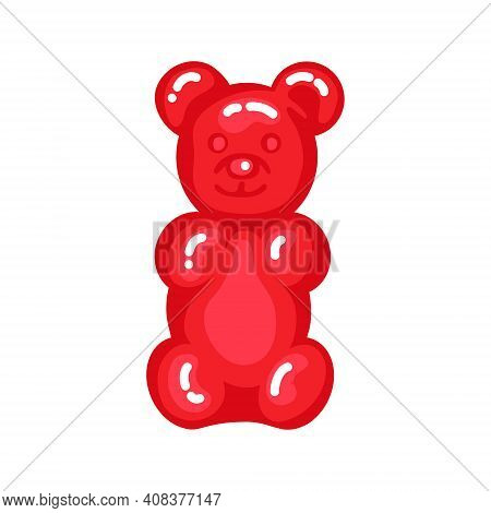 Red Gummy Bear Jelly Sweet Candy With Amazing Flavor Flat Style Design Vector Illustration. Bright C