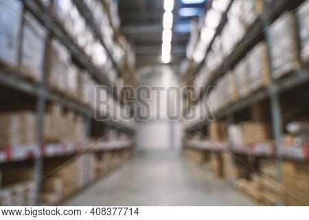 Food Market Interior. Blur Corridor Light Background. Shop Shelf. Stock Cold Goods. Refrigerator Sto