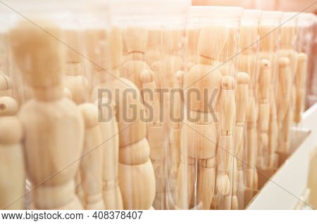 Ikea Business Figures. Extraordinary Team Model. Meeting Mannikin. Wooden People Mall. White Color.