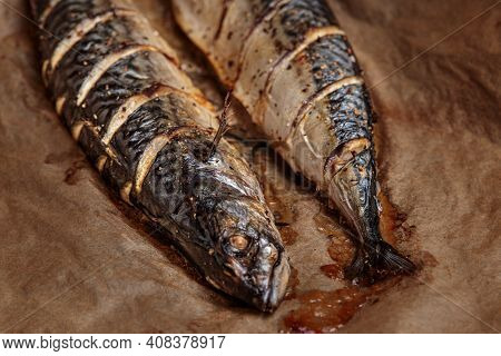 Grilled Mackerel Fish, Bbq Cooked Seafood Barbecue. Fish Meat Grill Cooking Whole. Baked Scomber, Gr