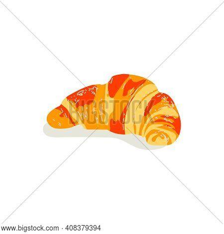 Freshly Baked Croissant. Traditional French Baked Crispy Croissant Dessert. Morning Breakfast Meal.