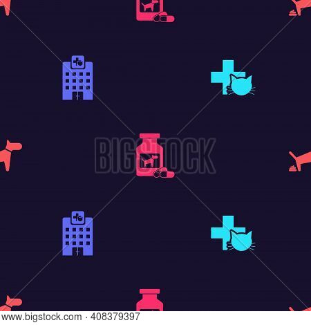 Set Veterinary Clinic, Medicine Hospital, Dog Bottle And Pills And Pooping On Seamless Pattern. Vect