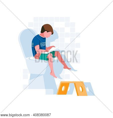 Cute Boy Sitting On Toilet. Child Using Toilet Bowl And Tearing Wiping Paper From Roll In Wc, Restro