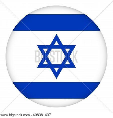 Flag Of Israel Round Icon, Badge Or Button. Israeli National Symbol. Template Design, Vector Illustr